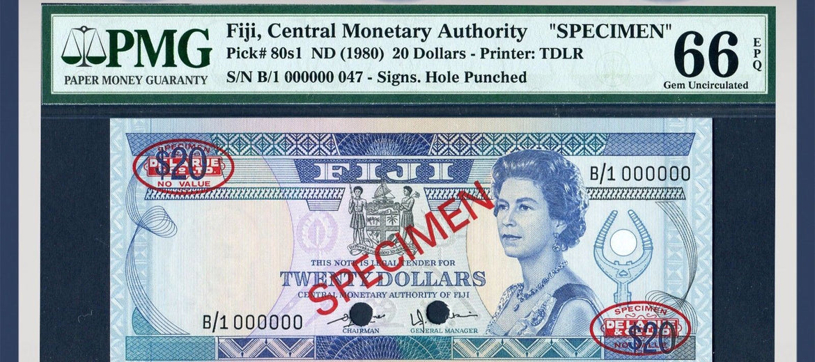 TT PK 0080s1 1980 FIJI 20 DOLLARS QUEEN ELIZABETH II PMG 66 EPQ ONLY THREE FINER!
