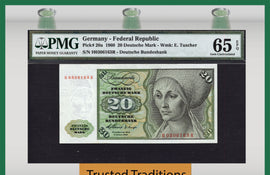 TT PK 0020a 1960 GERMANY FEDERAL REPUBLIC 20 DEUTSCHE MARK PMG 65 EPQ GEM UNC