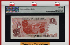 TT PK 0311a 1983-84 ARGENTINA 1 PESO ARGENTINO PMG 67 EPQ POP ONE FINEST KNOWN!