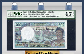 TT PK 0019b1 1970-80 NEW HEBRIDES 500 FRANCS PMG 67 EPQ SUPERB GEM UNCIRCULATED