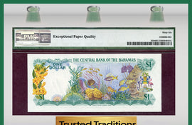 TT PK 0035b 1974 BAHAMAS 1 DOLLAR PMG 66 EPQ GEM UNCIRCULATED