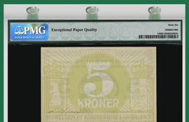 "TT PK 0014 1913 GREENLAND 5 KRONER ""POLAR BEAR"" RARE, SCARCE NOTE PMG 66 EPQ GEM"