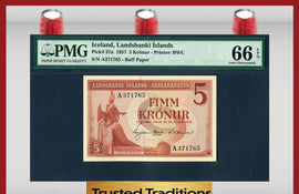 TT PK 0037a 1957 ICELAND 5 KRONUR LANDSBANKI ISLANDS PMG 66 EPQ GEM UNCIRCULATED!!