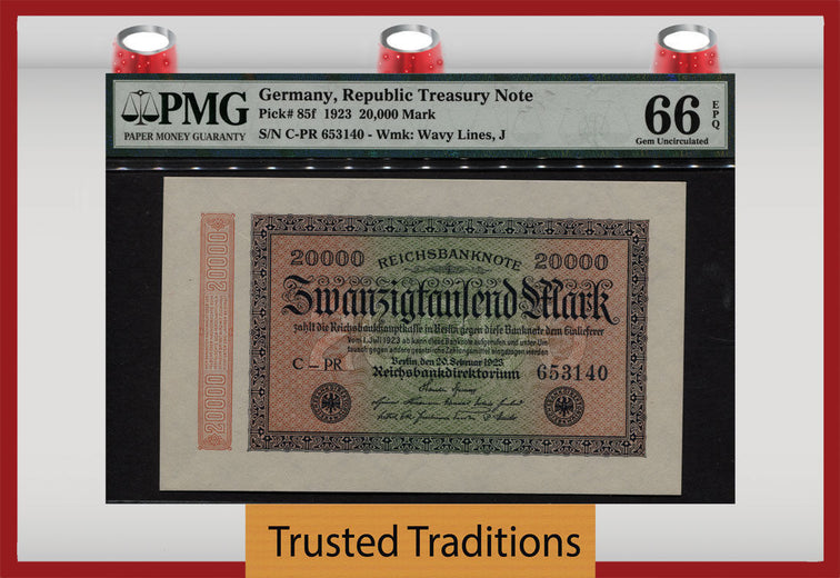 TT PK 0085f GERMANY REPUBLIC TREASURY NOTE 20000 MARK PMG 66 EPQ SCARCELY GRADED!
