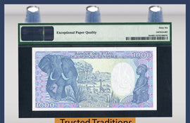 "TT PK 0010c 1991 CONGO REPUBLIC 1000 FRANCS ""ELEPHANT"" PMG 66 EPQ ONLY TWO FINER"