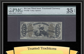 TT FR 1362 50 CENT THIRD ISSUE FRACTIONAL PMG 35 EPQ CHOICE VERY FINE