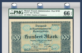 TT PK 0009 1922 MEMEL / FRENCH ADMINISTRATION - POST WWI 100 MARK PMG 66 EPQ GEM!