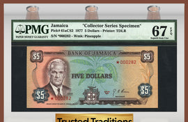 "TT PK 0061aCS2 1977 JAMAICA 5 DOLLARS ""COLLECTOR SERIES SPECIMEN"" PMG 67 EPQ"