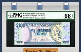 "TT PK 0036a 2006 GUYANA 100 DOLLARS ""ST GEORGE CATHEDRAL"" PMG 66 EPQ FINEST KNOWN"