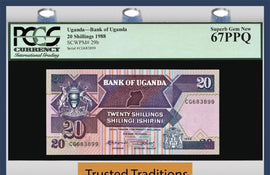 TT PK 0029b 1988 UGANDA 20 SHILLINGS PGCS 67 PPQ SUPERB GEM NEW POPULATION OF ONE