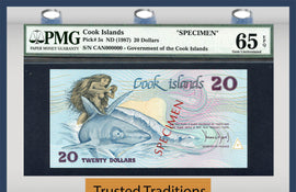 "TT PK 0005s 1987 COOK ISLANDS 20 DOLLARS ""SPECIMEN"" PMG 65 EPQ GEM UNCIRCULATED"