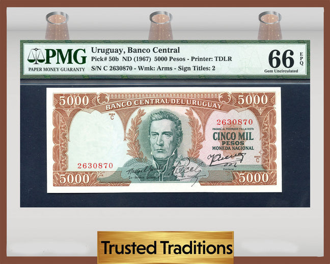 TT PK 0050b 1967 URUGUAY BANCO CENTRAL 5000 PESOS PMG 66 EPQ GEM UNCIRCULATED!