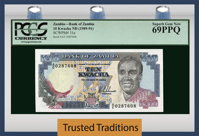 TT PK 0031a 1989-91 ZAMBIA 10 KWACHA PCGS 69 PPQ SUPERB GEM NEW FINEST KNOWN!