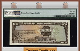 TT PK 0128a 1972 NICARAGUA 1000 CORDOBAS PMG 65 EPQ GEM UNCIRCULATED ONLY 1 IN 65