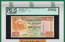 TT PK 0205b 1997 HONG KONG 1000 DOLLARS IMPOSING LION PCGS 67 PPQ SUPERB GEM NEW