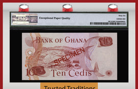 "TT PK 0016CS1 1977 GHANA 10 CEDIS ""COLLECTOR'S SERIES SPECIMEN"" PMG 66 EPQ POP TWO"