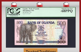 "TT PK 0033a 1991 UGANDA 500 SHILLINGS PCGS 68 PPQ ""ELEPHANT WITH TUSK"" SUPERB GEM"