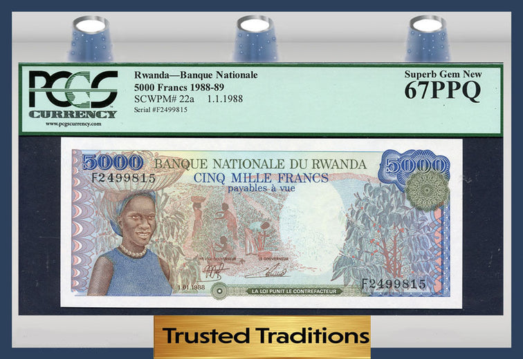 TT PK 0022a 1988-89 RWANDA BANQUE NATIONALE 5000 FRANCS PCGS 67 PPQ SUPERB GEM NEW