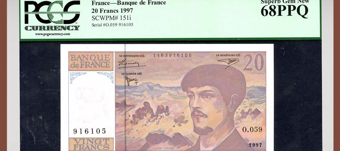 TT PK 0151i 1997 FRANCE 20 FRANCS PCGS 68 PPQ SUPERB GEM NEW NONE FINER!