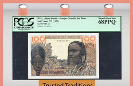 TT PK 0002b ND 1959 WEST AFRICAN STATES 100 FRANCS PCGS 68 PPQ POP 1 FINEST KNOWN