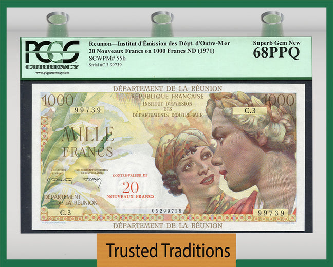 TT PK 0055b 1971 REUINION 1000 FRANCS (20 NOUVEAUX FRANCS) PCGS 68 SUPERB GEM NEW