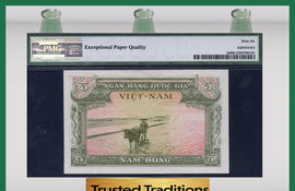 TT PK 0002a 1955 VIETNAM - SOUTH, NATIONAL BANK 5 DONG PMG 66 EPQ GEM UNCIRCULATED