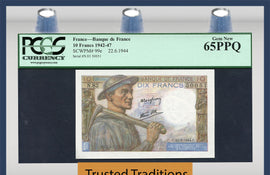 TT PK 0099e 1942-1947 FRANCE 10 FRANCS PCGS 65 PPQ GEM NEW