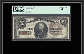 TT FR 0366 1890 $10 TREASURY NOTE SCARCE AND POPULAR FANCY BACK PCGS 40