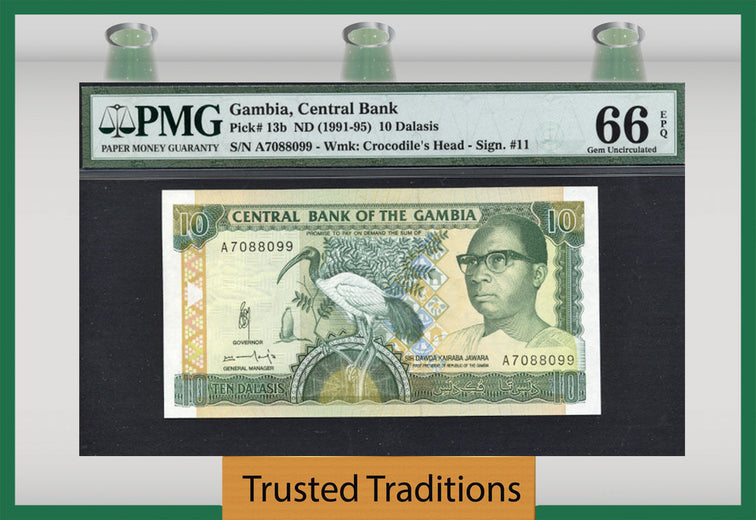 TT PK 0013b 1991-95 GAMBIA 10 DALASIS PMG 66 EPQ GEM UNCIRCULATED POP 1 NONE FINER