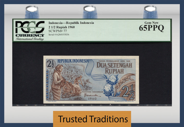 TT PK 0077 1960 INDONESIA 2 1/2 RUPIAH PCGS 65 PPQ GEM NEW POPULATION OF TWO!
