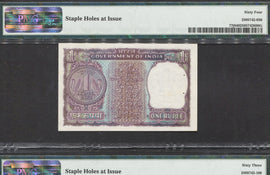 TT PK 0077j 1972 INDIA 1 RUPEE SET OF 2 NOTES SERIAL # 550 & 600 PMG 64 CHOICE UNC