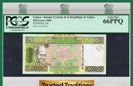 "TT PK 0039a 2006 GUINEA 500 FRANCS ""1 OF 2 SEQUENTIAL SERIAL NUMBER"" PCGS 66 PPQ!"