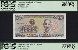 "TT PK 0106a 1988 VIETNAM 1000 DONG ""HCM"" PCGS 68 PPQ SUPERB GEM NEW SET OF TWO!"