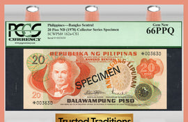 TT PK 0162a-CS1 1978 PHILIPPINES BANGKO SENTRAL 20 PISO PCGS 66 PPQ GEM NEW!