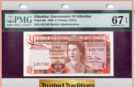 TT PK 0020e 1988 GIBRALTAR 1 POUND PMG 67 EPQ SUPERB GEM UNCIRCULATED NONE FINER!