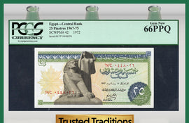 TT PK 0042 1967-75 EGYPT 25 PIASTRES PCGS 66 PPQ GEM NEW POP ONE FINEST KNOWN!