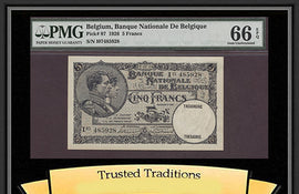 TT PK 0097 1926 BELGIUM 5 FRANCS PMG 66 EPQ GEM UNCIRCULATED NONE FINER