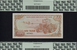 "TT PK 0100a 1987 VIETNAM 200 DONG ""HO CHI MINH"" PCGS 66 PPQ GEM NEW ""SET OF 2"""