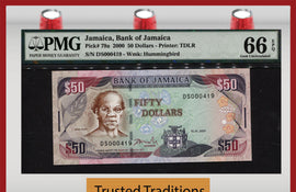 "TT PK 0079a 2000 JAMAICA 50 DOLLARS ""SAMUEL SHARPE"" PMG 66 EPQ GEM POP TWO 2 OF 2!"