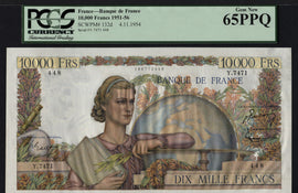 TT PK 0132d 1951-56 FRANCE 10000 FRANCS PCGS 65 PPQ UNIQUE NOTE IN THIS GRADE WOW