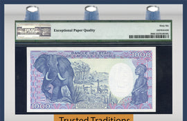 "TT PK 0009 1985 CONGO REPUBLIC 1000 FRANCS ""ANIMAL CARVING"" ""ELEPHANT"" PMG 66 EPQ"