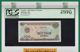 "TT PK 0105b 1991 VIETNAM 100 DONG ""TEMPLE""  PCGS 67 PPQ SUPERB GEM NONE FINER!!"