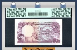 TT PK 0003a 1966 UGANDA 20 SHILLINGS PCGS 68 PPQ 1 OF 2 SEQUENTIAL SERIAL NUMBER