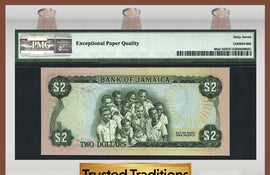 "TT PK 0060aCS2 1977 JAMAICA 2 DOLLARS ""COLLECTOR SERIES SPECIMEN"" PMG 67 EPQ"