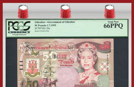"TT PK 0028a 1995 GIBRALTAR 50 POUNDS ""QUEEN ELIZABETH II"" PCGS 66 PPQ GEM NEW!"