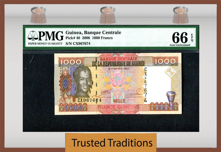 TT PK 0040 2006 GUINEA 1000 FRANCS PMG 66 EPQ GEM UNC FINEST KNOWN!