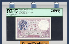 TT PK 0072e 1933 FRANCE 5 FRANCS PCGS 67 PPQ SUPERB GEM NEW POP TWO NONE FINER
