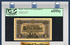 "TT PK UNL 1916 HUNGARY 1 KRONE ""PRISONER OF WAR CAMP"" PCGS 65 PPQ GEM NEW!"