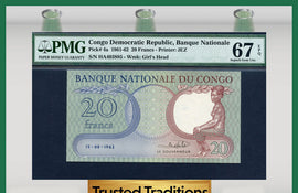 TT PK 0004a 1961-62 CONGO DEMOCRATIC REPUBLIC 20 FRANCS PMG 67 EPQ NONE FINER