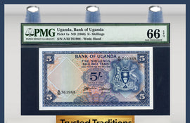 TT PK 0001a 1966 UGANDA 5/- SHILLINGS PMG 66 EPQ GEM POP THREE NONE GRADED FINER!